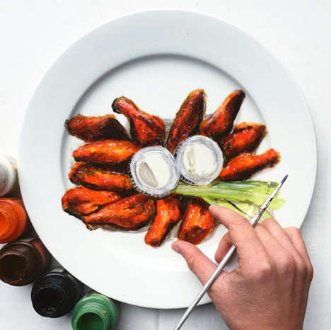 Deceptive Food Plate Paintings