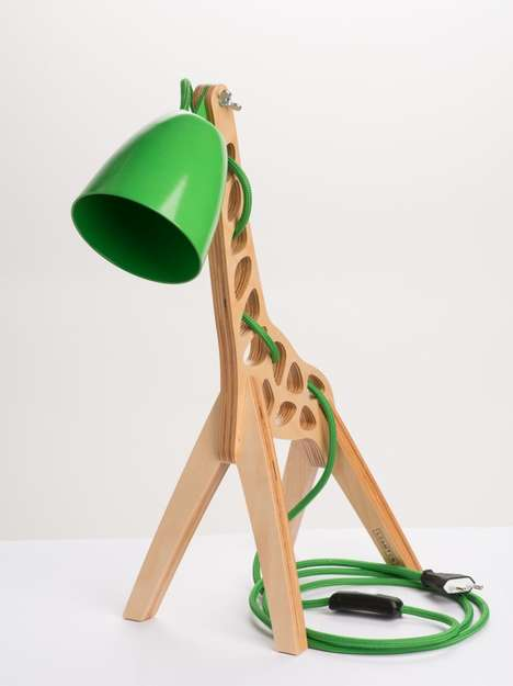 Wooden Giraffe Lamps