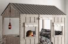 Cabin-Inspired Children's Beds - Restoration Hardware Kids' Cabin Bed Doubles as a Playhouse