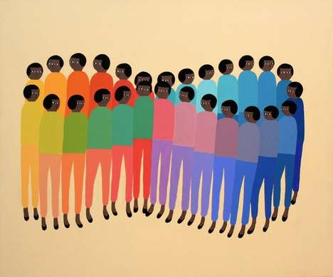This Artist Paints People as Uniform Patterns to Criticize Conformity