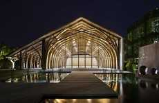 Vaulted Bamboo Pavilions - This Conference Hall is Made from Two Kinds of Locally Sourced Bamboo