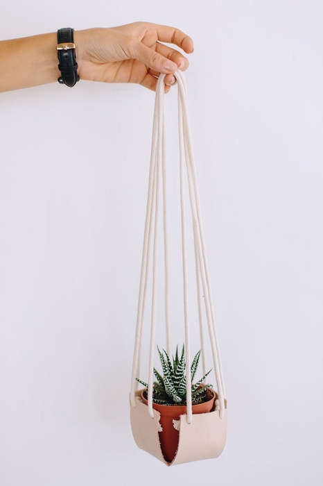 Hanging Leather Planters
