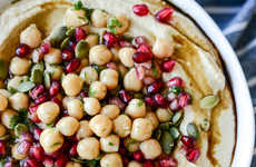 Fall-Flavored Hummus Recipes - This Roasted Butternut Squash Hummus is Topped with Pomegranate