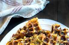 Thanksgiving Breakfast Waffles - These Stuffing Waffles Use Last Night's Dinner for a Morning Meal