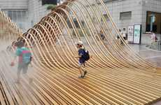 Wavy Wooden Sculptures - This Bamboo Sculpture in Shanghai is Used as a Playground by Kids