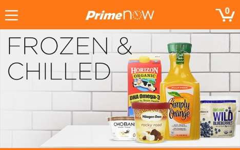 Speedy Frozen Food Deliveries - Amazon Prime Now offers one-hour services for chilled goods