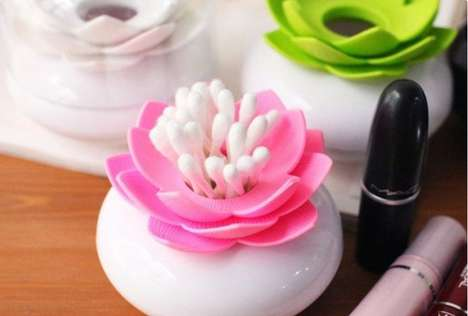 Floral Q-Tip Holders - The Lotus Cotton Bud Holder Adds a Touch of Femininity to Your Bathroom