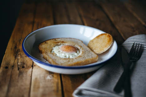 Healthy Yogurt Eggs - These Eggs are Cooked inside a Slice of Bread and Topped with Plain Yogurt