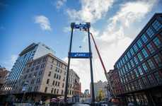 Marathon Selfie Sticks - This 90-Foot Selfie Stick was Erected for ASICS' #GoRunIt Marathon