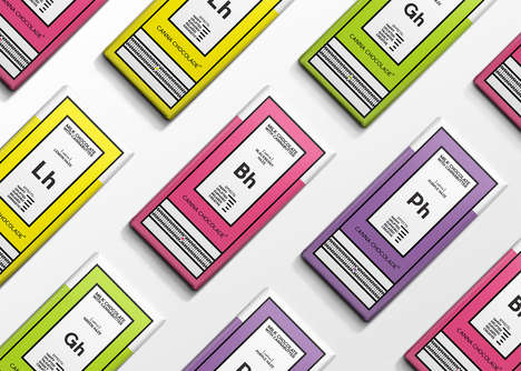 Scientific Snack Packaging - Canna Chocolade's Brand Identity Mimics the Periodic Table of Elements