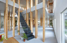Bamboo Grove Offices - This Japanese Bamboo Office Contains Work Spaces on Different Planes