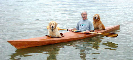 Dog-Friendly Custom Kayaks - This Kayak Has an Extra Hole to Make Room for Two Golden Retreivers