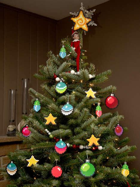 Pixelated Tree Ornaments