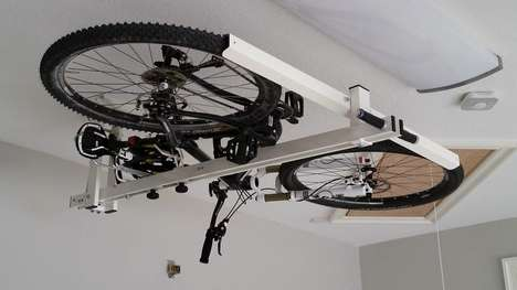 Overheard Bike Racks - The 'flat-bike-lift' Rack Lets You Store Your Bikes Up Against Your Ceiling