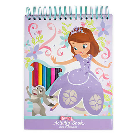 Crayon-Embedded Coloring Books - Disney's Activity Book for Kids Features Princess Sofia