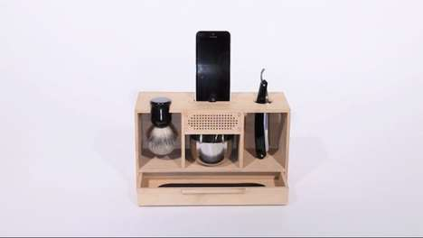 This Wooden Box for Holding Shaving Tools Also Doubles as a Smartphone Dock