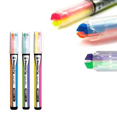 Multicolored Highlighter Pens - Beetle Tip's Two-in-One Highlighter Marker Easily Alternates Colors