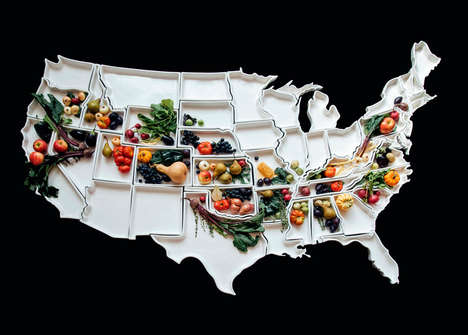 Ceramic American Maps - These Handmade Thanksgiving Dishes Interlock to Represent the 50 States