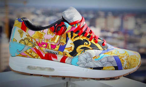 Upcycled Silken Sneakers - These 'What the Versace' Shoes are Made from a Pair of Patterned Pants