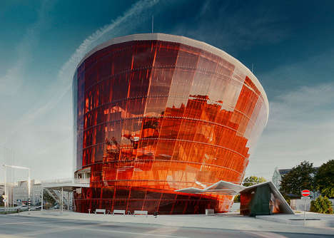 The 'Great Amber Concert Hall' Illuminates in Orange in the Night