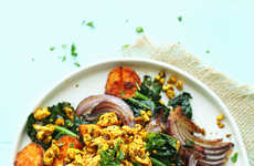 Savory Scrambled Tofu Dishes - This Breakfast Hash is Made from Tasty Vegan Ingreidents
