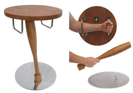 Bedside Table / Bat and Shield - Sleep Safe with a Big Stick by Your Side