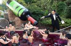 Wine-Filled Swimming Pools - Beaujolais Nouveau Vintage Launch