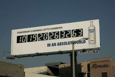 Clairvoyant Billboards - Absolut Ad Predicts Lottery Numbers