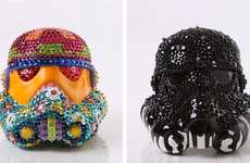 Reinterpreted Space Wars Helmets - These Bedazzled & Wooden Stormtrooper Helmets Designs are Unique