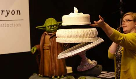 Galactic Floating Cakes - Peboryon Creates a Yoda-Inspired Wedding Cake that Magically Levitates