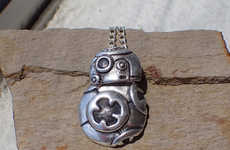 Precious Sci-Fi Trinkets - This Star War BB-8 Silver Charm Necklace is Designed to Move with You