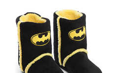 Snug Superhero Slippers - These Fuzzy Batman Boots Will Keep Your Toes Toasty Warm