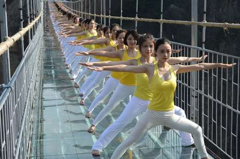 Sky-High Yoga Stunts - This Extreme Yoga Display Was Carried Out Atop China's Towering Glass Bridge