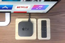 Eco-Friendly Multimedia Docks - The iSkelter Apple TV Stand is Crafted from Sustainable Bamboo