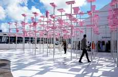 Foam-Connected Canopies - This Pavilion Titled 'UNBUILT' Uses Bright Pink Blocks to Connect the Rods