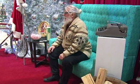 Stylish Hipster Santas - This Mall Santa Does Not Wear Traditional Christmas Garb