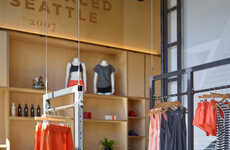 Suspended Display Interiors - The Oiselle Flagship in Seattle Boasts Mobile Clothing Racks