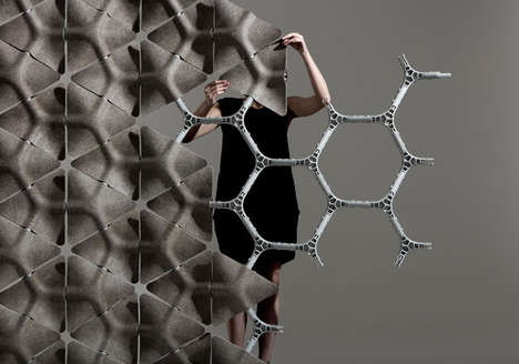 Honeycomb Acoustic Partitions - These Modular Office Dividers are Made of Hexagonal Hemp Shapes