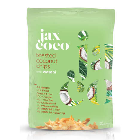 Wasabi-Flavored Coconut Chips - These Tasty Toasted Coconut Chips are a Healthy Vegan Snack Option