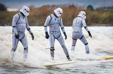 Sci-Fi Surfing Stunts - These Surfers in Stormtrooper Suits Draw Attention to Movie Locations