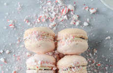 Peppermint Bark Macarons - These Pretty Pink Macarons are Sprinkled in Crushed Up Candy Canes