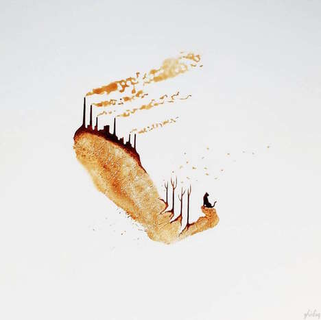 Caffeinated Fingerprint Paintings