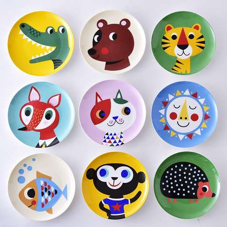 Ceramic Critter Plates - These Colorful Cartoon Animal Dishware Adds an Element of Whimsy to Dining