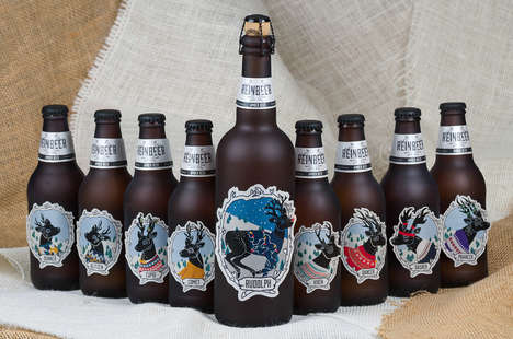 Reindeer Beer Branding - These Christmas Edition Bottles Celebrate Santa's Eight Sleigh Drawers