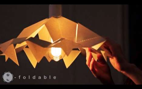 Shape-Shifting Lampshades - This Parchment Lampshade Features an Origami-Inspired Design