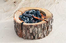 Disposable Tree Stump Grills - This Disposable BBQ Provides an Eco-Friendly Grilling Solution