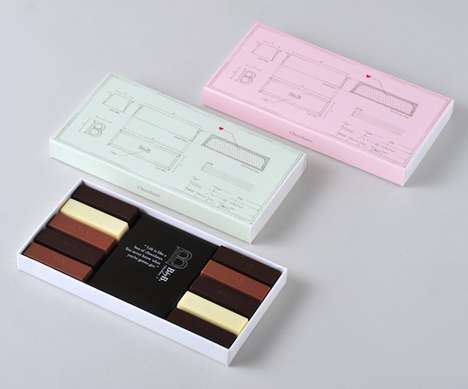 Blueprint Chocolate Boxes - BbyB.'s Chocolate Chocolate Packaging Designs Include Schematic Elements