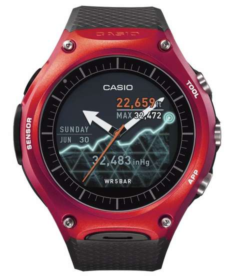 Outdoorsman Smartwatches - The Casio WSD-F10 Smart Outdoor Watch Targets Adventurers at CES 2016