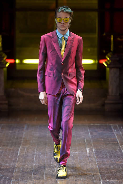 Saturated Cartoonish Couture - The Moschino Menswear Fall Collection is Pervaded with Bright Designs