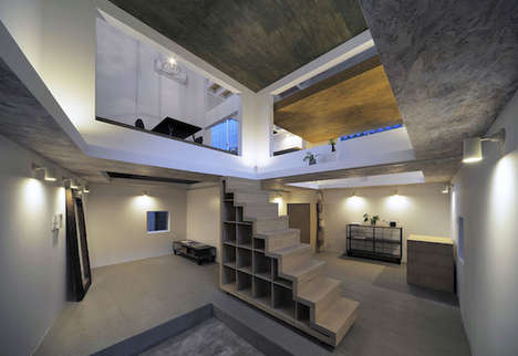 Floating Floor Homes - Each Floor of This Unique Open Concept Japanese Home is Accessed Via Ladders